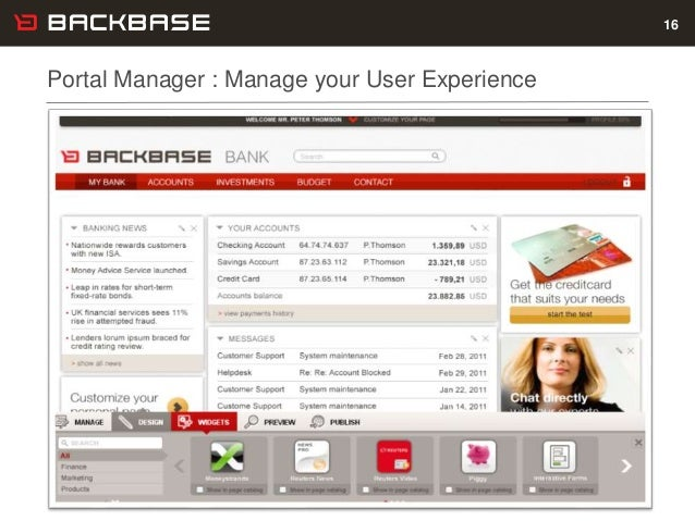 Customer Experience Solutions. Delivered. 16 Portal Manager : Manage your User Experience 16