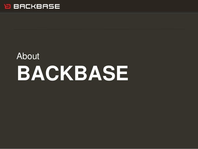 Customer Experience Solutions. Delivered. 22 About BACKBASE