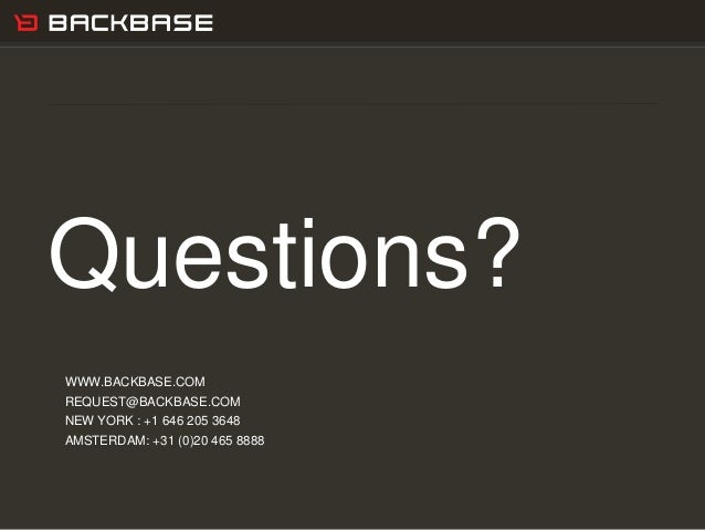 Customer Experience Solutions. Delivered. 26 Questions? WWW.BACKBASE.COM REQUEST@BACKBASE.COM NEW YORK : +1 646 205 3648 A...