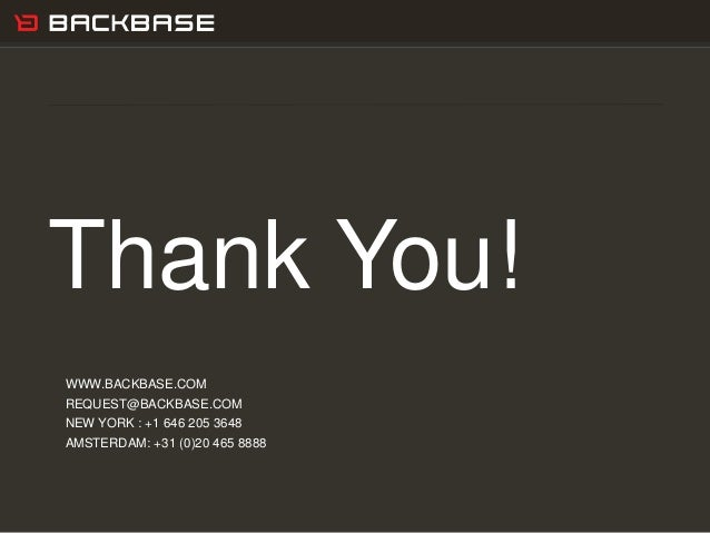 Customer Experience Solutions. Delivered. 27 Thank You! WWW.BACKBASE.COM REQUEST@BACKBASE.COM NEW YORK : +1 646 205 3648 A...