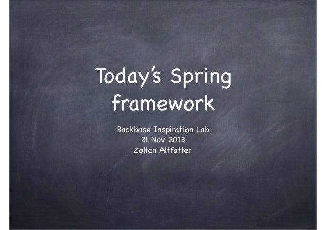 Today's Spring framework Backbase Inspiration Lab  21 Nov 2013  Zoltan Altfatter