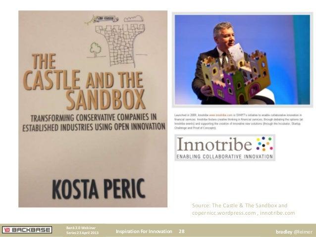 Inspiration For Innovation 28Bank 2.0 WebinarSeries 23 April 2013 bradley @leimerSource: The Castle & The Sandbox andcoper...