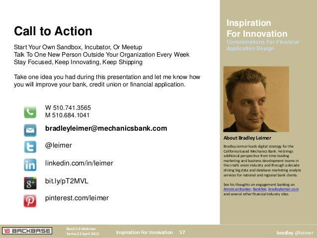 Call to ActionStart Your Own Sandbox, Incubator, Or MeetupTalk To One New Person Outside Your Organization Every WeekStay ...