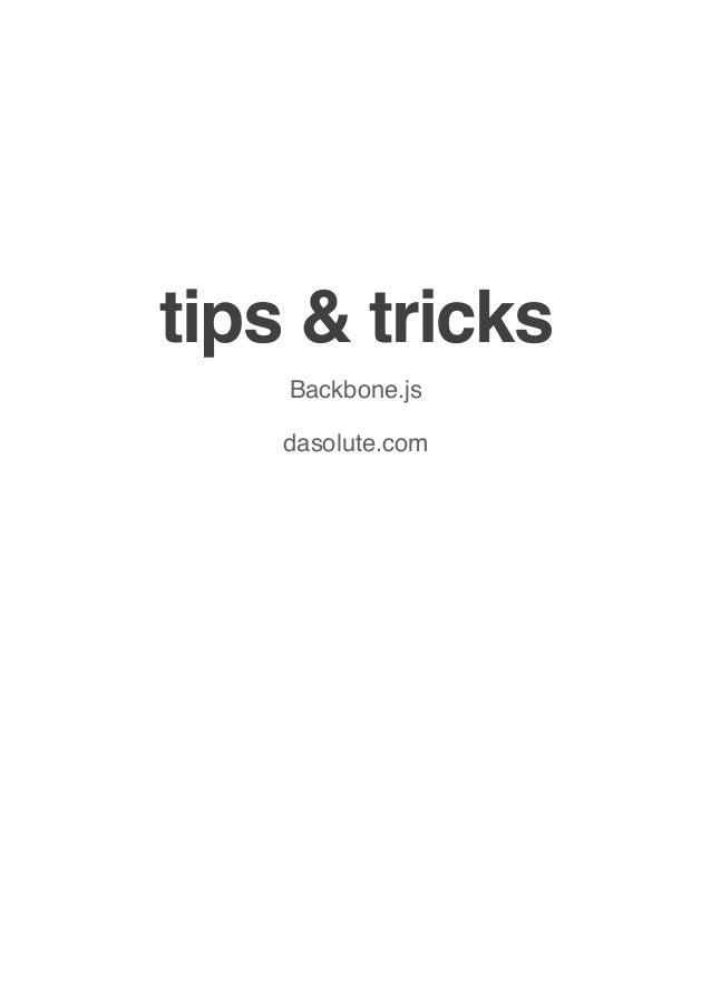 tips & tricks Backbone.js dasolute.com