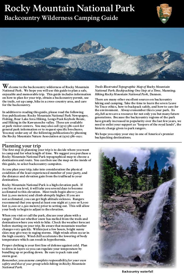 Rocky Mountain National Park Backcountry Wilderness Camping Guide Planning your trip The first step in planning your trip ...