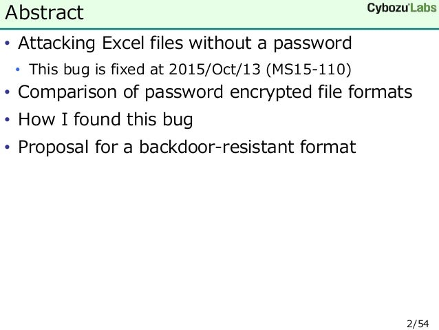 Backdoors with the MS Office file encryption master key and a proposa…