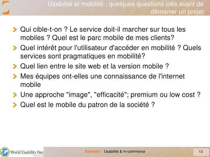 Usabilité et mobilité : quelques questions clés avant de démarrer un projet<br />Qui cible-t-on ? Le service doit-il march...
