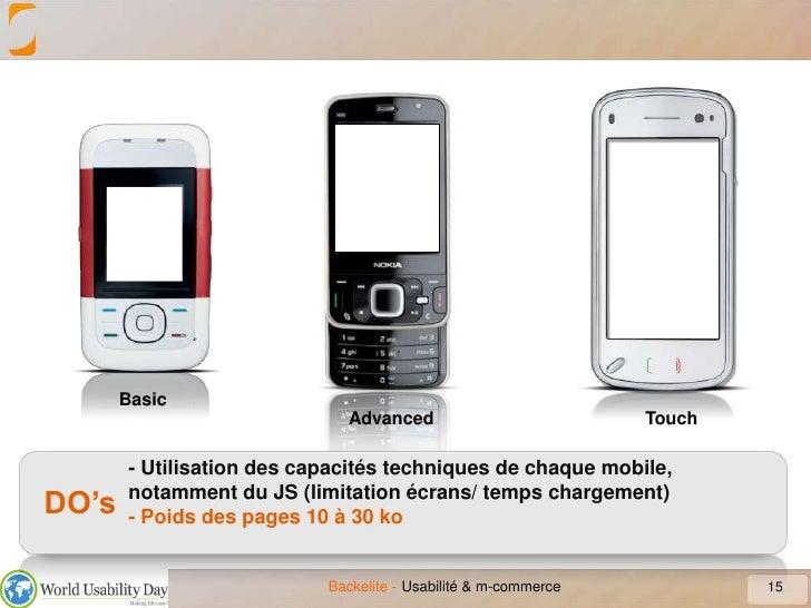 15<br />Usabilité & m-commerce<br />Basic<br />Advanced<br />Touch<br />- Utilisation des capacités techniques de chaque m...