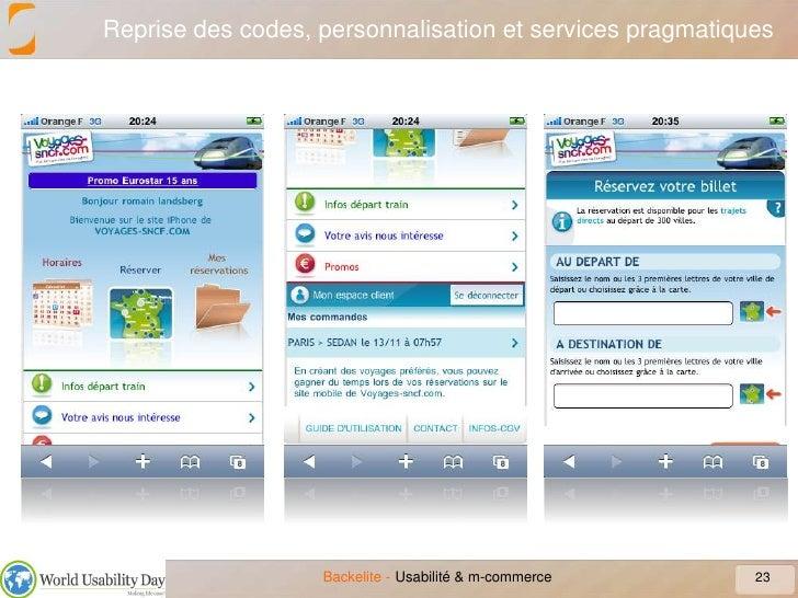 Reprise des codes, personnalisation et services pragmatiques<br />23<br />Usabilité & m-commerce<br />