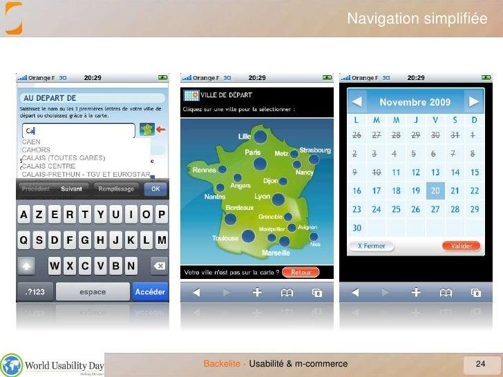Navigation simplifiée<br />24<br />Usabilité & m-commerce<br />