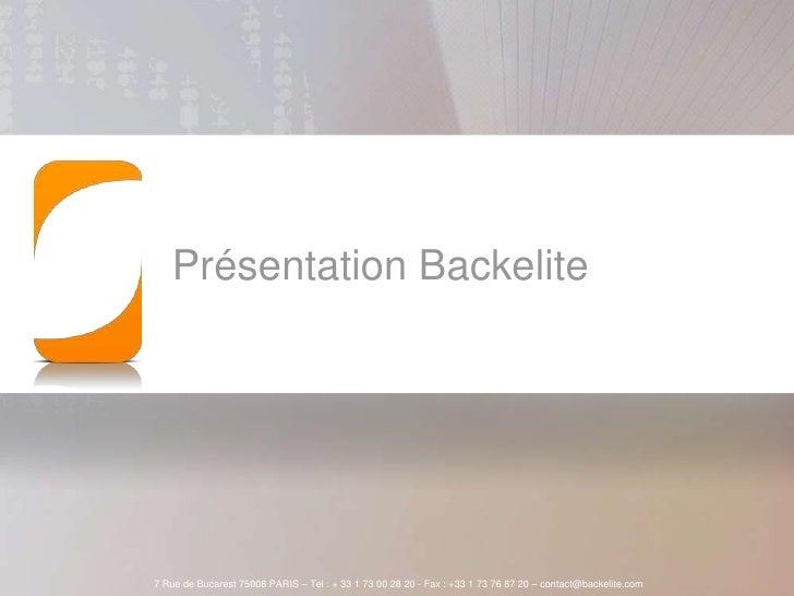 Présentation Backelite<br />