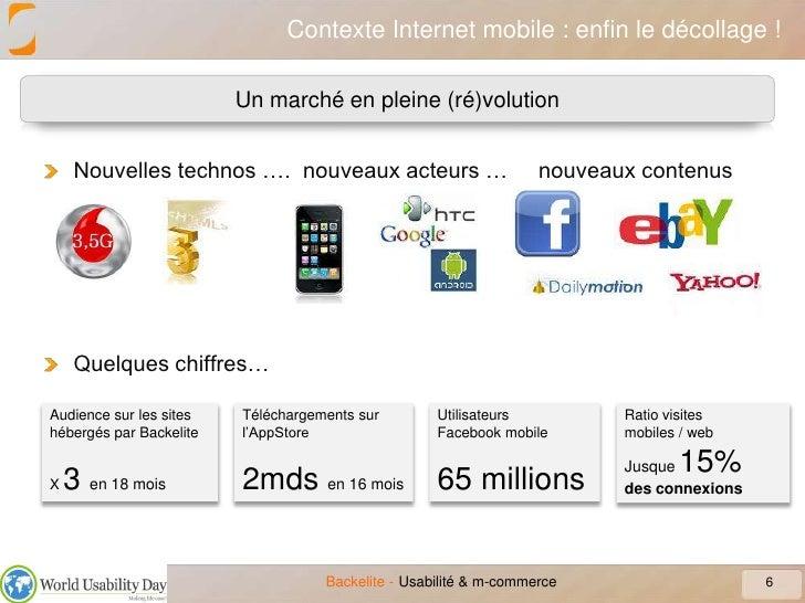 Contexte Internet mobile : enfin le décollage !<br />6<br />Usabilité & m-commerce<br />Un marché en pleine (ré)volution<b...