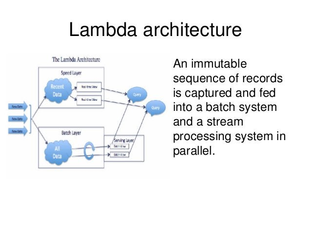 Lambda architecture • An immutable sequence of records is captured and fed into a batch system and a stream processing sys...