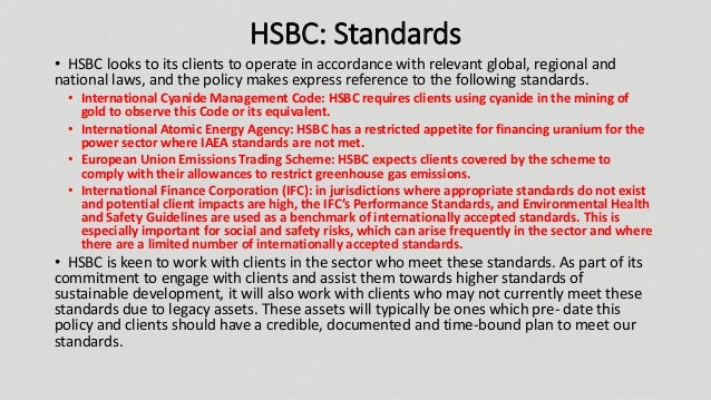 corporate social responsibility of hsbc Free essay: corporate social responsibility in banks skavitha[1] abstract corporate social responsibility stands for business contribution to sustainable.