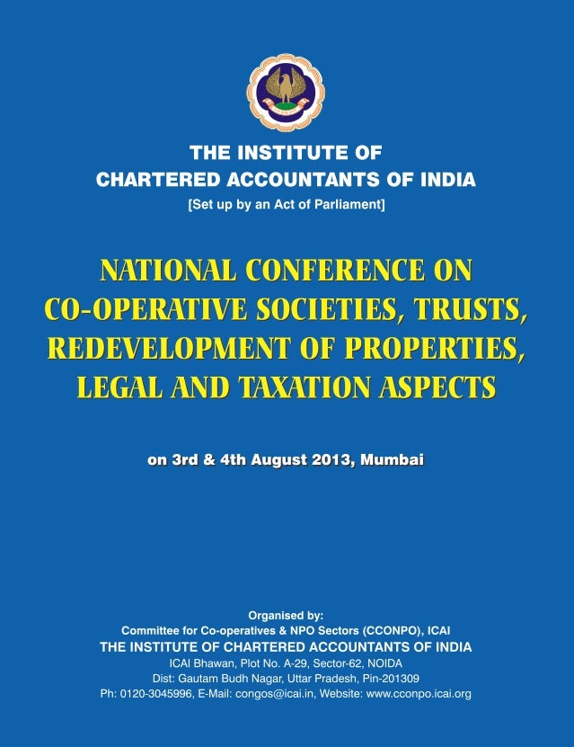 i National Conference on Co-operative Societies, Trusts, Redevelopment of Properties, Legal and Taxation Aspects