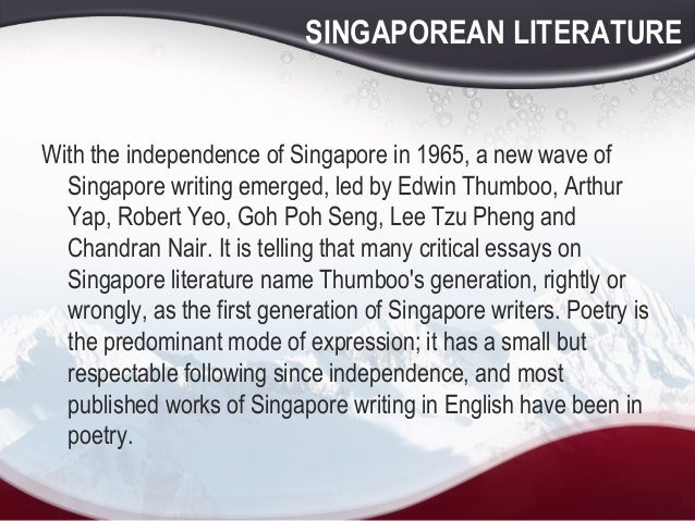essays on edwin thumboo Still travelling by edwin thumboo essays on edwin thumboo we feel that singaporean literature is under appreciated and we hope that singaporeans will start to read singaporean literature.