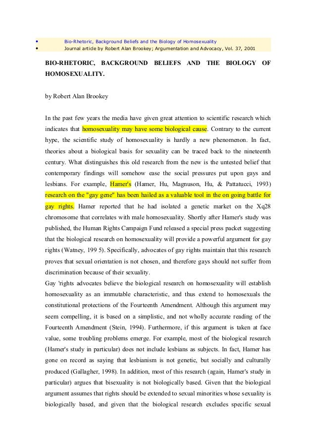 •          Bio-Rhetoric, Background Beliefs and the Biology of Homosexuality•          Journal article by Robert Alan Broo...