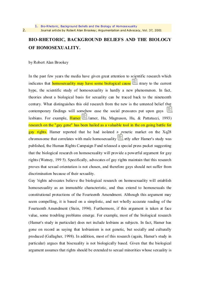 1. Bio-Rhetoric, Background Beliefs and the Biology of Homosexuality2.          Journal article by Robert Alan Brookey; Ar...