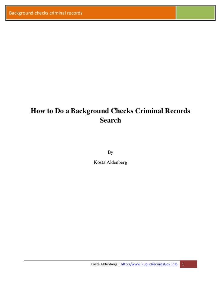 Background checks criminal records          How to Do a Background Checks Criminal Records                              Se...