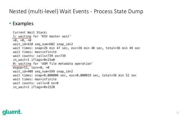 12 • Examples Nested (multi-level) Wait Events - Process State Dump