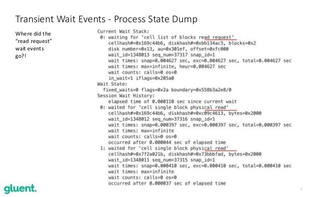 """7 Transient Wait Events - Process State Dump Where did the """"read request"""" wait events go?!"""