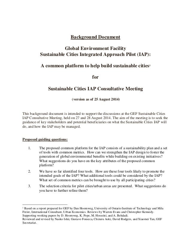 GEF Sustainable Cities Integrated Approach Pilot (IAP): A common plat…