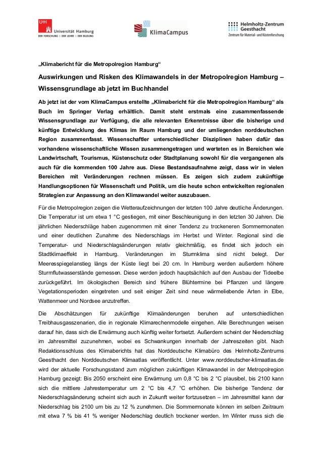 """""""Klimabericht für die Metropolregion Hamburg""""Auswirkungen und Risken des Klimawandels in der Metropolregion Hamburg –Wisse..."""