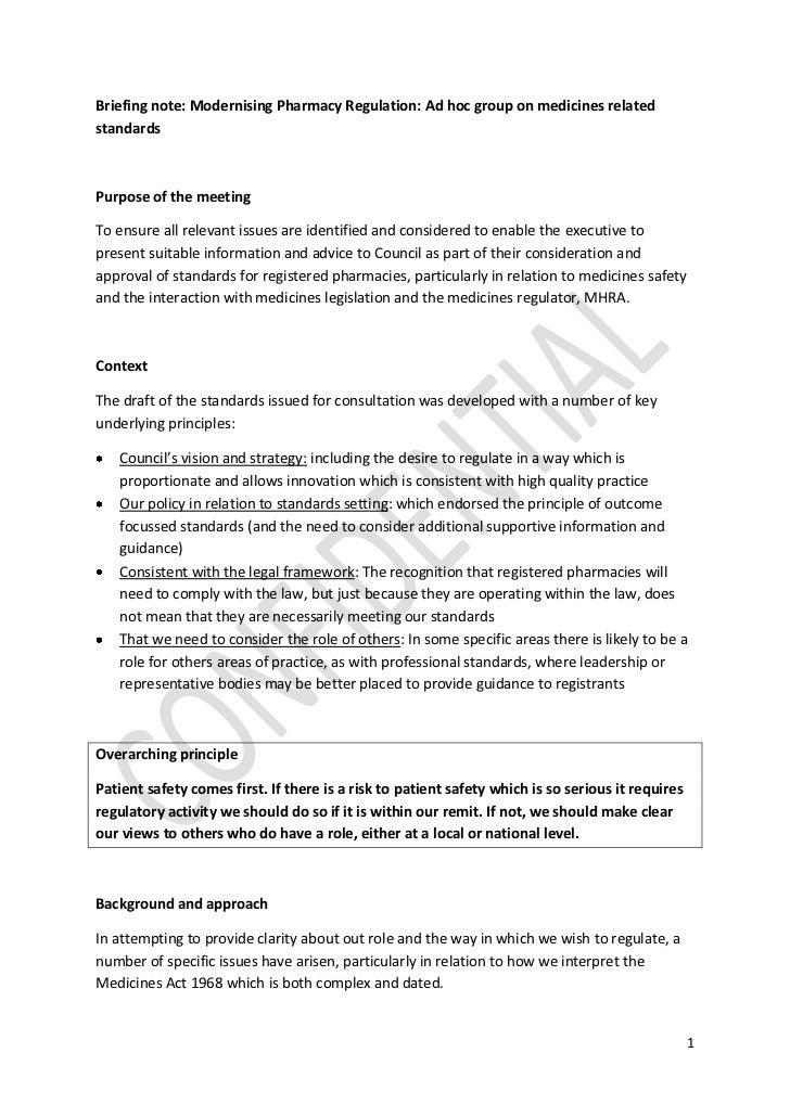 Briefing note: Modernising Pharmacy Regulation: Ad hoc group on medicines relatedstandardsPurpose of the meetingTo ensure ...