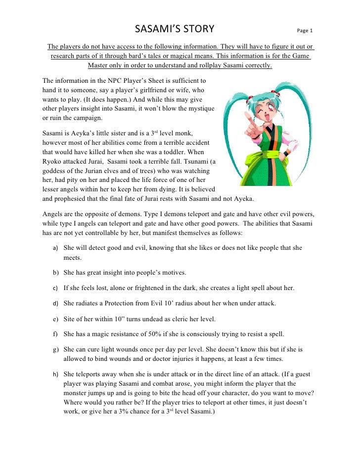 SASAMI'S STORY                                                                                                 Page 1  The...