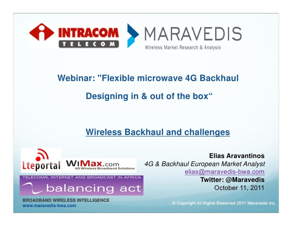 """Webinar: """"Flexible microwave 4G Backhaul                      Designing in & out of the box""""                      Wireless..."""