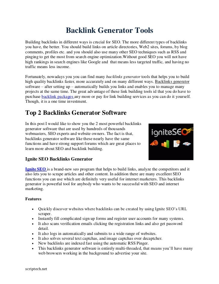 Backlink Generator ToolsBuilding backlinks in different ways is crucial for SEO. The more different types of backlinksyou ...