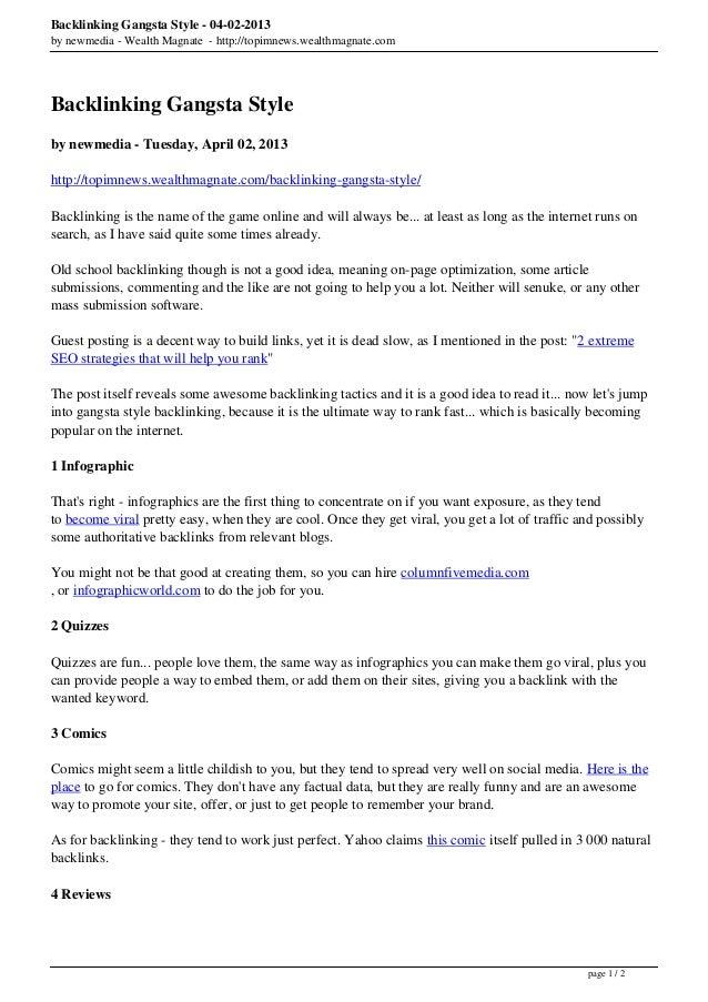 Backlinking Gangsta Style - 04-02-2013by newmedia - Wealth Magnate - http://topimnews.wealthmagnate.comBacklinking Gangsta...