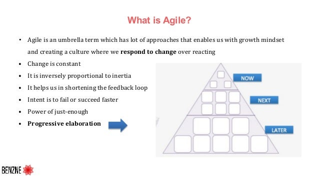 What is Agile? • Agile is an umbrella term which has lot of approaches that enables us with growth mindset and creating a ...