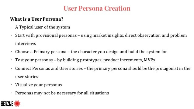 User Persona Creation What is a User Persona? ∙ A Typical user of the system ∙ Start with provisional personas – using mar...