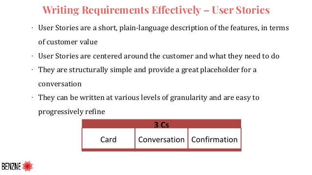 Writing Requirements Effectively – User Stories ∙ User Stories are a short, plain-language description of the features, in...