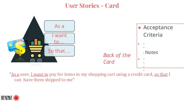 """User Stories - Card ● Acceptance Criteria ● • • • Notes ● • • • • … … Back of the Card """"As a user, I want to pay for items..."""