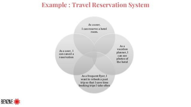 Example : Travel Reservation System As a user, I can reserve a hotel room. As a vacation planner, I can see photos of the ...