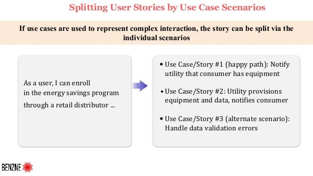 If use cases are used to represent complex interaction, the story can be split via the individual scenarios As a user, I c...