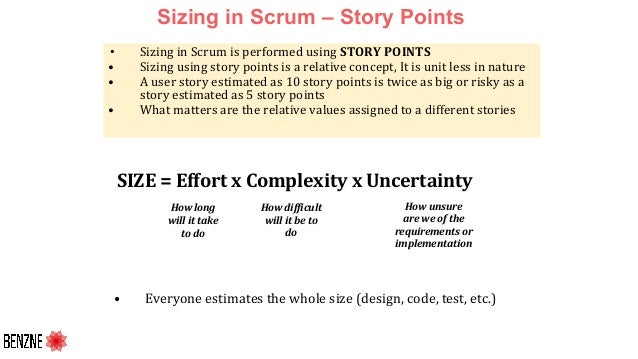 Sizing in Scrum – Story Points • Sizing in Scrum is performed using STORY POINTS • Sizing using story points is a relative...