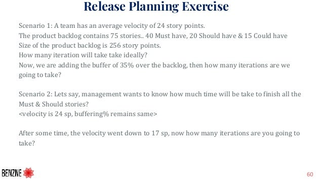 Release Planning Exercise Scenario 1: A team has an average velocity of 24 story points. The product backlog contains 75 s...