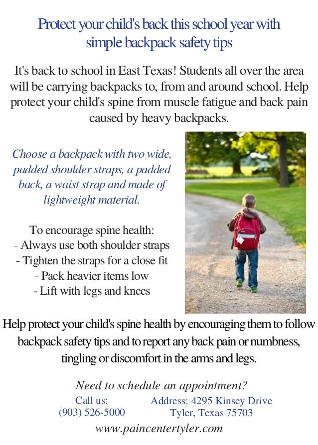 Protect your child s back this school year with simple backpack safety tips  Choose a backpack with 755d9a96be29f