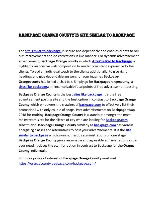 Backpage Orange County Is Site Similar To Backpage The Site Similar To Backpage Is Secure And