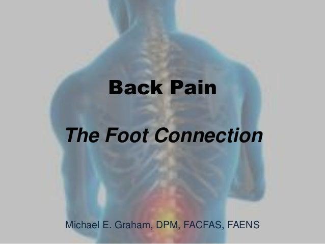 Back PainThe Foot ConnectionMichael E. Graham, DPM, FACFAS, FAENS