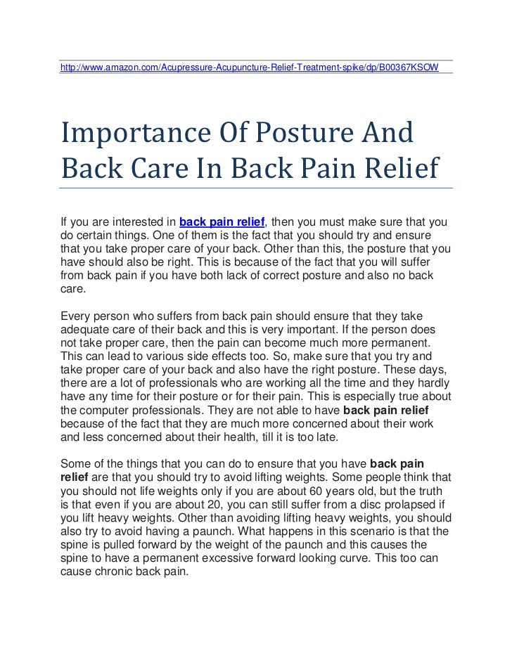 http://www.amazon.com/Acupressure-Acupuncture-Relief-Treatment-spike/dp/B00367KSOWImportance Of Posture AndBack Care In Ba...