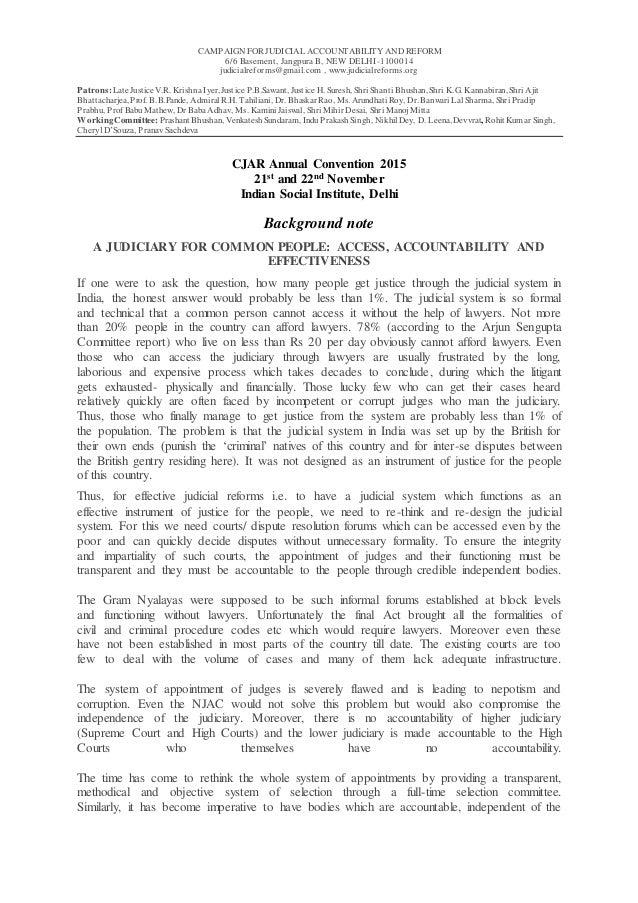 CAMPAIGN FOR JUDICIAL ACCOUNTABILITY AND REFORM 6/6 Basement, Jangpura B, NEW DELHI-1100014 judicialreforms@gmail.com , ww...