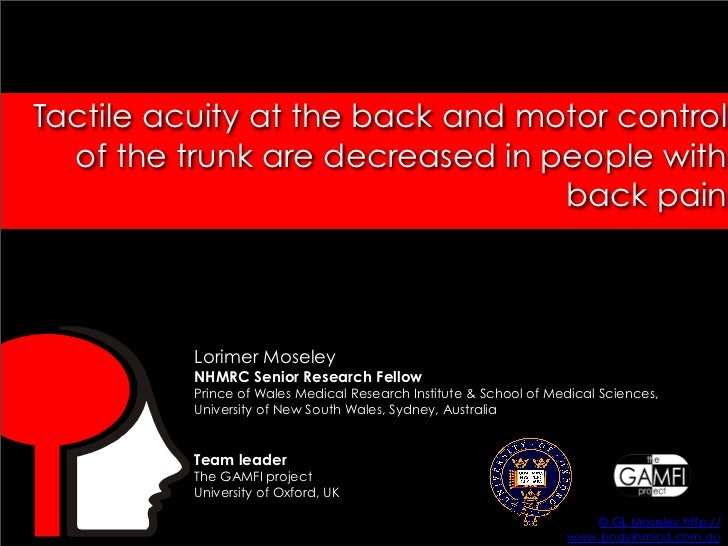 Tactile acuity at the back and motor control   of the trunk are decreased in people with                                  ...
