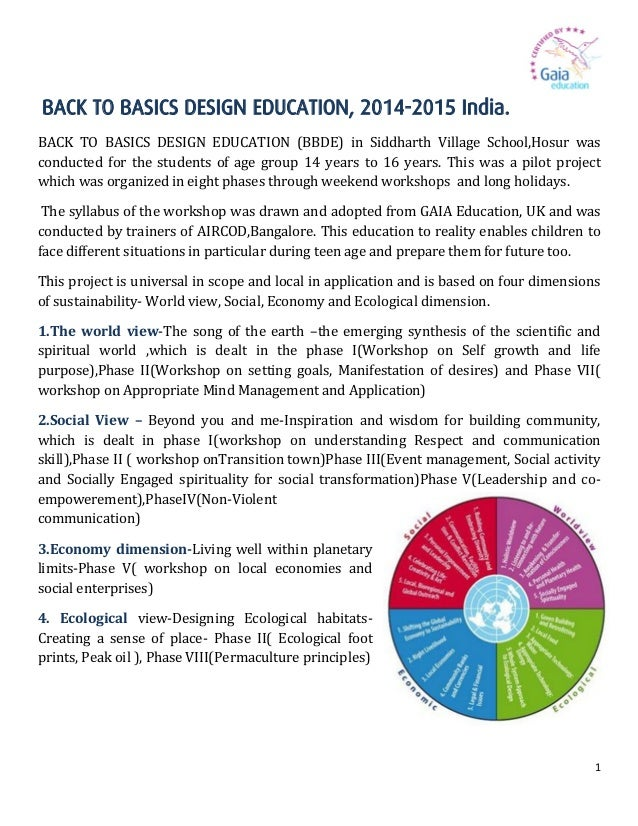 1 BACK TO BASICS DESIGN EDUCATION, 2014-2015 India. BACK TO BASICS DESIGN EDUCATION (BBDE) in Siddharth Village School,Hos...