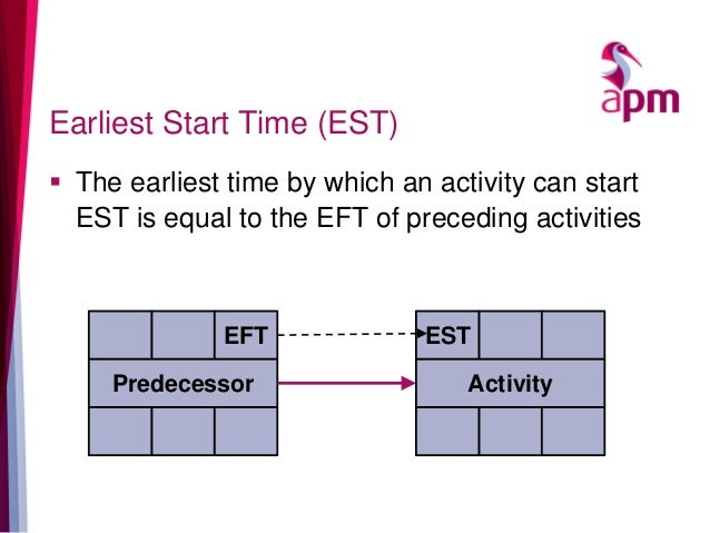 Earliest Start Time (EST)  The earliest time by which an activity can start EST is equal to the EFT of preceding activiti...