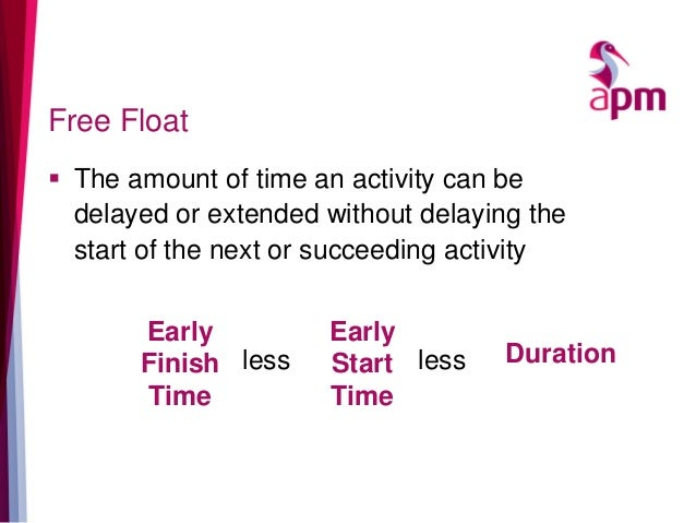 Free Float  The amount of time an activity can be delayed or extended without delaying the start of the next or succeedin...