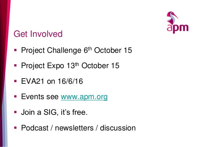 Get Involved  Project Challenge 6th October 15  Project Expo 13th October 15  EVA21 on 16/6/16  Events see www.apm.org...